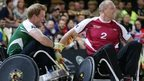 Prince Harry and Mike Tindall playing wheelchair rugby