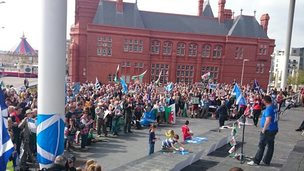 Senedd rally in Cardiff Bay