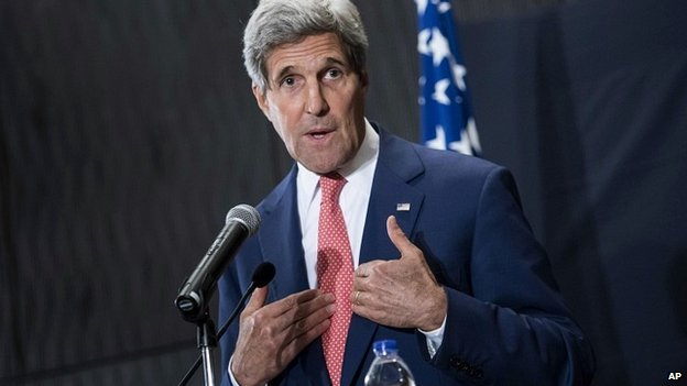 US Secretary of State John Kerry speaks during a press conference in Cairo, Egypt - 13 September 2014