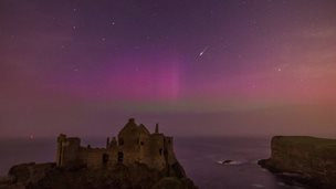 Dunluce Castle northern lights