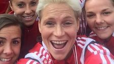 Jess Fishlock and Wales team-mates pose for a pre-match selfie