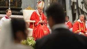 Pope Francis (C) celebrates several weddings as part of a mass at St Peter's basilica on 14 September , 2014 at the Vatican.
