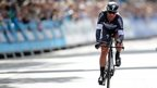 "Omega Pharma-Quickstep""s Mark Cavendish crosses the finish line in the Individual Time Trial"