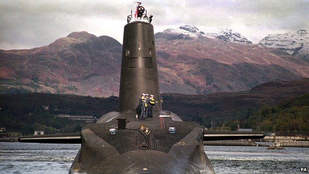 "The Royal Navy""s 16,000 ton Trident-class nuclear submarine Vanguard"