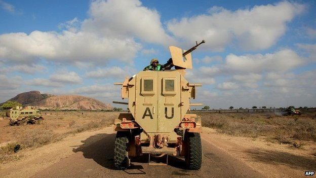 A Ugandan contingent of the African Union force on patrol in Somalia - 27 February 2012