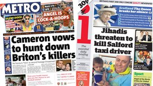 Composite of Metro and i front pages