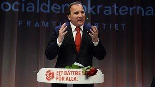 Stefan Lofven, the leader of Sweden's Social Democrats, speaks to supporters in Stockholm - 14 September 2014