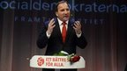 Stefan Lofven, the leader of Sweden's Social Democrats, speaks to supporters in Stockholm - 14 September 2014