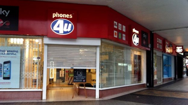 Phones 4U shop on Birmingham High Street