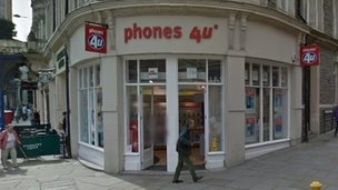 Phones 4U in Newport city centre