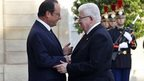 French President Francois Hollande, left, with Iraqi counterpart Fuad Masum in Paris. 15 Sept 2014