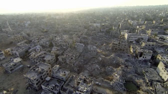 aerial footage of ruined Shejaiya district of Gaza