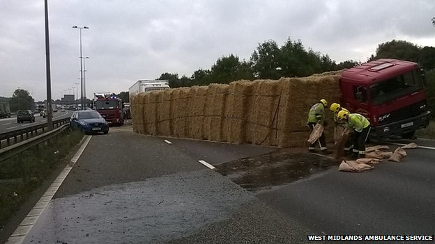 Bails of hay on M6