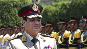 Egyptian president Abdul Fattah al-Sisi in military uniform in April 2013.