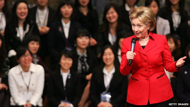 US Secretary of State Hillary Clinton gives a lecture after awards an 'Distinguished Honorary Ewha Fellow' at the Ewha Womans University in Seoul, South Korea 20 February 2009