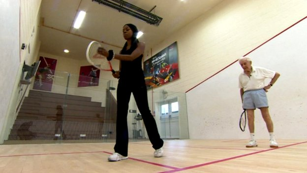 Nicola Beckford meets racquet player Bob Paddock