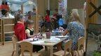 Children and staff in nursery school
