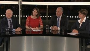 Leighton Andrews, Kirsty Williams, Andrew RT Davies and Leanne Wood take part in a debate on the Wales Report
