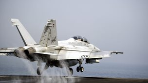 US Navy F/A-18 Hornet takes off from USS George H.W. Bush - 15 August