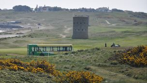 Guernsey bus driving along L'Ancresse road