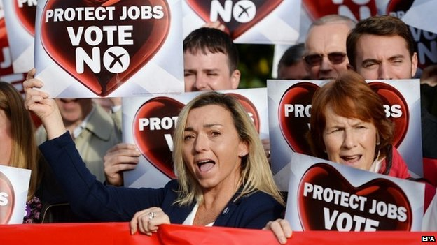 """Better Together"" supporters at a rally in Glasgow on Tuesday"