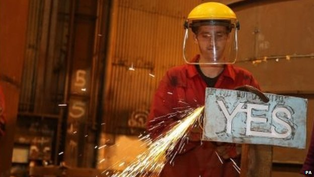 "Apprentice Craig McKee manufacturing a steel ""Yes"" sign at Steel Engineering in Renfrew"