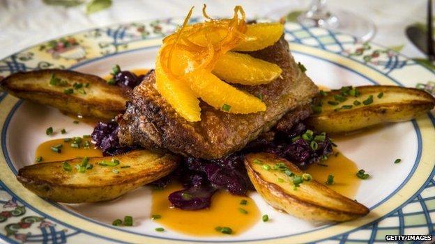 Duck confit, a classic French entree, at Le Vieux Logis restaurant
