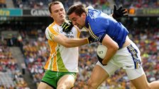 Neil McGee challenges Kerry's Anthony Maher in the 2012 All-Ireland quarter-final