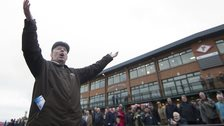 Oliver Brady holding court after King Shabra wins at Fairyhouse