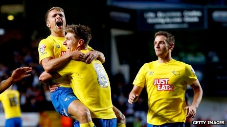 Jamie Ward celebrating his goal at Charlton