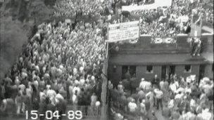 CCTV of fans at Hillsborough on 15 April 1989