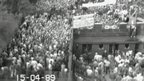 CCTV of fans at Hillsborough on 15 April 1989