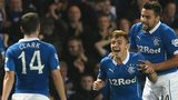 Lewis Macleod celebrates scoring for Rangers