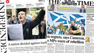 Composite image of Independent and Times front pages