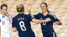 Kim Little rushes to congratulate Scotland team-mate Jane Ross