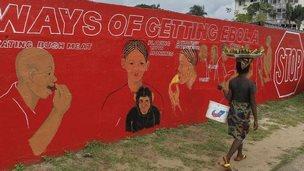 Ebola mural in Monrovia, Liberia, 15 Sept