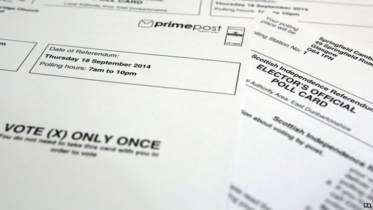 Polling card for Scottish referendum