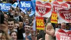 Split image of Yes and No campaigners
