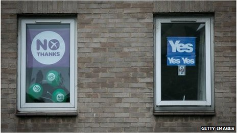 No Thanks and Yes signs in flat windows in Edinburgh