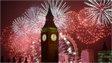 Fireworks explode over London on 1 January 2014