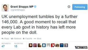 Tweet from Tory party chairman Grant Shapps