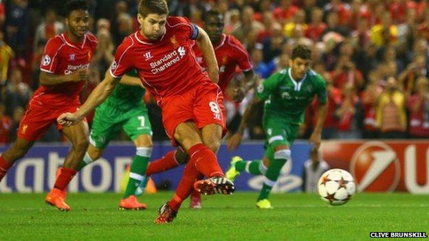 Steven Gerrard scores Liverpool's winner from the penalty spot.