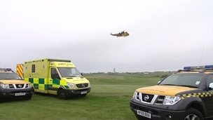 RAF Scampton helicopter and emergency services vehicles at Flamborough
