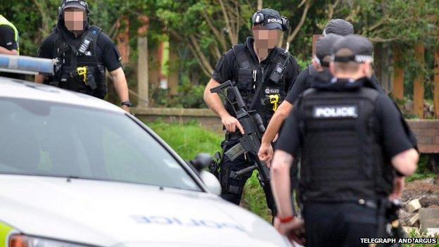 Police at attack scene