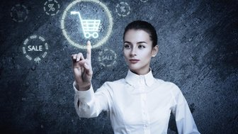 Woman clicking on a shopping trolley iconck
