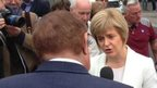 Andrew Neil with Nicola Sturgeon in Hamilton