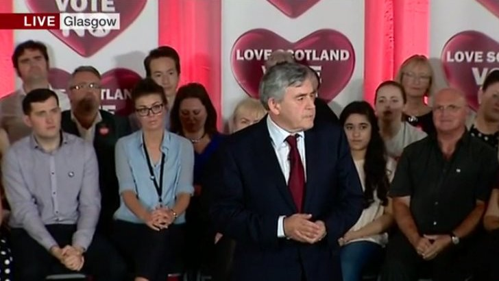 Gordon Brown speaks at rally