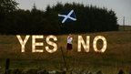 Yes No signs and flag