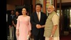 PM welcoming President Xi Jinping at Hyatt Hotel, Ahmedabad