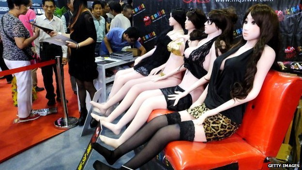 Sex dolls on display at the Guangzhou Sex Culture Festival